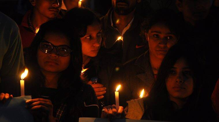 ABVP party members organised Candle March against the release of juvenile accused of Nirbhya Rape Case, at Sukhna Lake in Chandigarh on Sunday, December 20 2015. Express photo by Sahil Walia