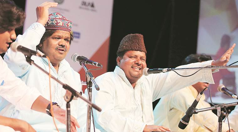 Sabri Brothers perform during a festival at Tagore Theatre in Chandigarh on Saturday.   Express Photo by Kamleshwar Singh
