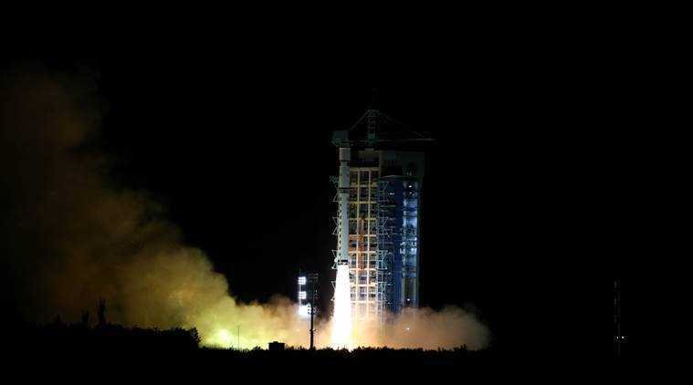 World's first quantum satellite is launched in Jiuquan, Gansu Province, China, August 16, 2016. China Daily/via REUTERS ATTENTION EDITORS - THIS IMAGE WAS PROVIDED BY A THIRD PARTY. EDITORIAL USE ONLY. CHINA OUT.