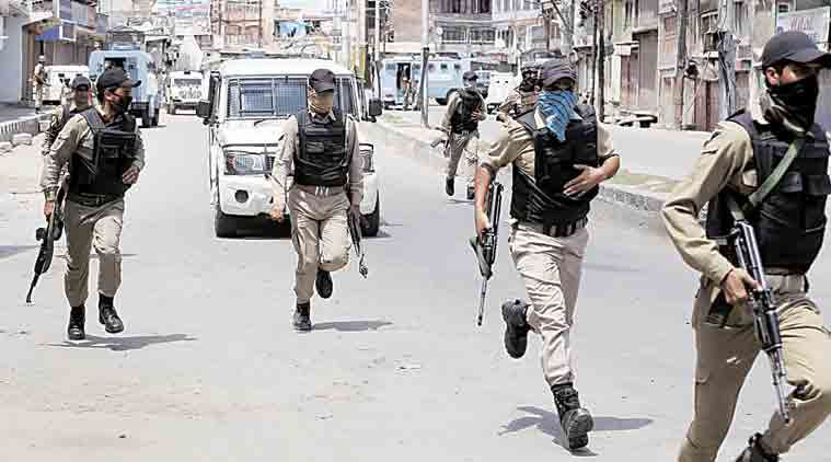 CRPF in action during the encounter with militants in Nowhatta. (Express Photo: Shuaib Masoodi)