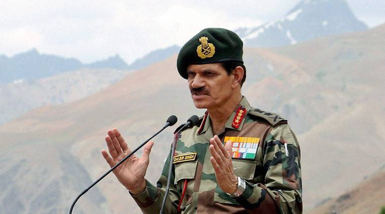 Drass:  Chief of Army Staff, General Dalbir Singh addresses after paying homage to the martyrs of OP VIJAY at the historic Kargil War Memorial, at Drass, Jammu and Kashmir on Monday. PTI Photo(PTI7_25_2016_000223A)