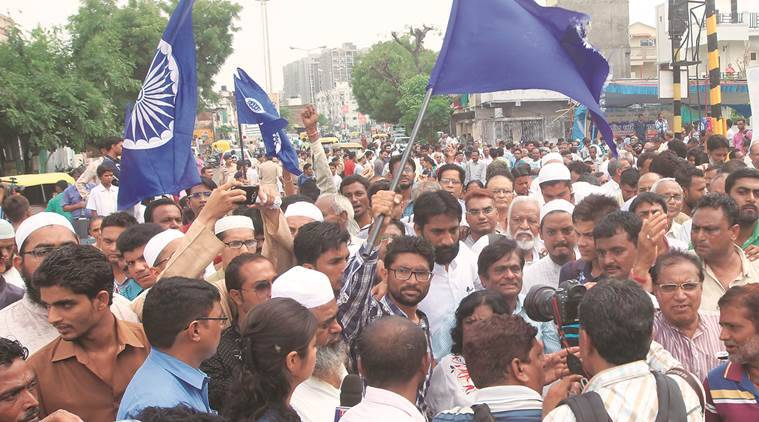 jr05-dalit-02 The ten-day march for Una began from Ambedkar chowk in Ahmedabad on Friday. Express photo javed raja [to go with satish jha story] 5-8-2016