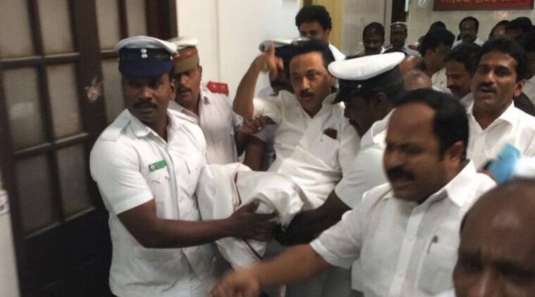 DMK, DMK MLA, DMK MLA suspention, Tamil Nadu, Tamil Nadu assembly, Ruckus in TN assembly, MK Stalin, Stalin, P Dhanapal, tamil nadu news, india news