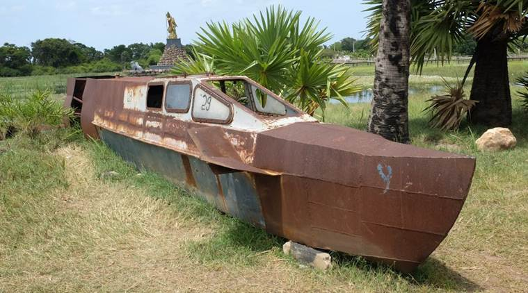 A submarine seized from the LTTE on display in Puthukudiyiruppu