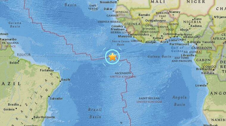 Earthquake of magnitude 69 strikes northwest of Ascension Island