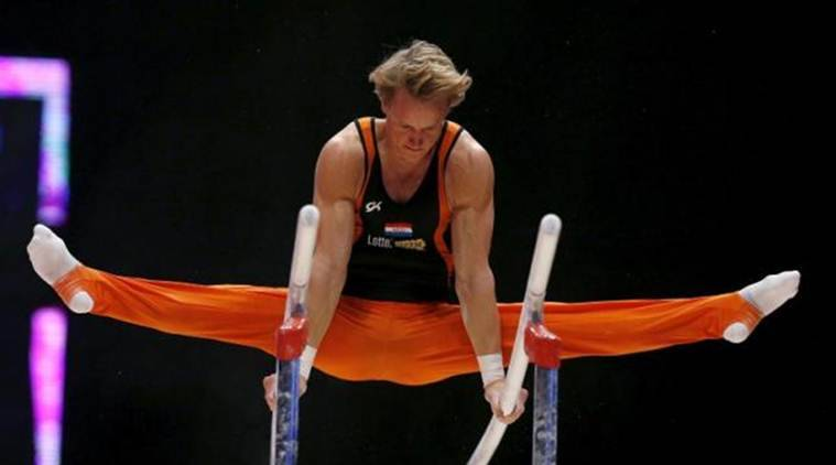Epke Zonderland of Netherlands performs on the Parallel Bars during the men's qualification for the World Gymnastics Championships at the Hydro arena in Glasgow