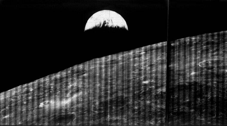 nasa, earth, moon, first earth photo, first photo of earth, earth photo from moon, first earth photo from moon, lunar orbiter 1, 50 years first earth photo, 50 anniversary of first earth photo, science news, trending news, latest news
