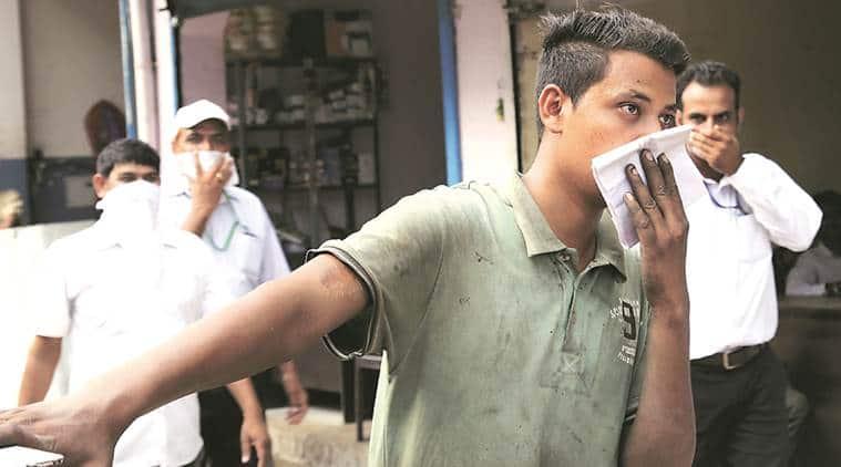 Gas leak, Gas leak Ahmedabad factory, Ahmedabad denim factory, indian express news, india news, latest news