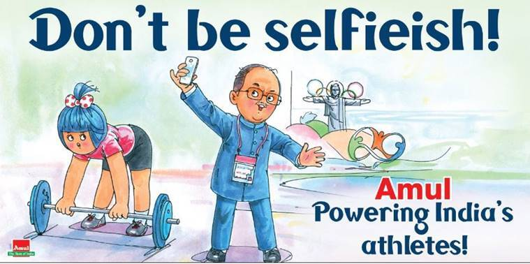 Amul's ad on Sports Minister clicking selfies at Rio games, while India struggled to earn a medal. (Source: Amul/ Twitter)