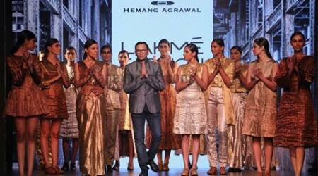 Hemang Aggarwal's metallic shimmer shone bright and beautiful on the runway at Lakmé Fashion Week Day 2