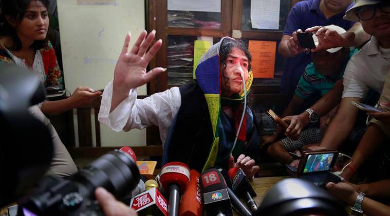 Irom Sharmila addresses a press conference after a court appearance in Imphal, in the north-eastern state of Manipur, India, Tuesday, Aug. 9, 2016. The 44-year-old activist who has been on a hunger strike for nearly 16 years to protest against alleged brutality by India's military, broke her fast on Tuesday, Aug. 2016. (AP Photo/Anupam Nath)