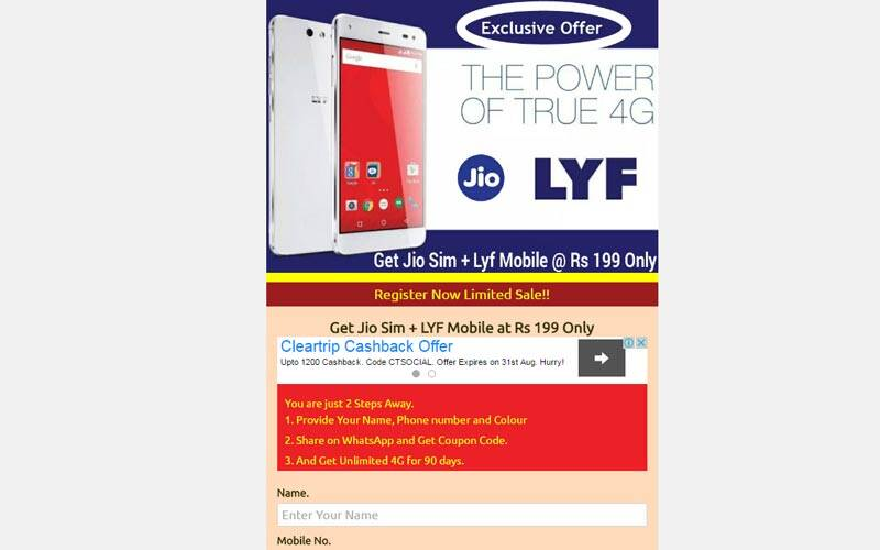 Reliance Jio, Reliance Jio 4G Scam, Jio 4G Scam, Reliance Lyf phone, Lyf branded phone, Lyf smartphone, Jio phone at Rs 199, Jio Scam, Lyf branded phone WhatsApp message, WhatsApp messages Jio