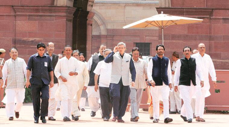 J&K opposition leaders, led by Omar Abdullah, outside Rashtrapati Bhavan on Saturday. (Source: Express photo by Renuka Puri)