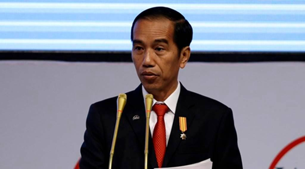 Indonesian President Joko Widodo delivers his speech during the opening ceremony of the 12th World Islamic Economic Forum in Jakarta, Indonesia, Tuesday, Aug. 2, 2016. (AP Photo/Achmad Ibrahim)