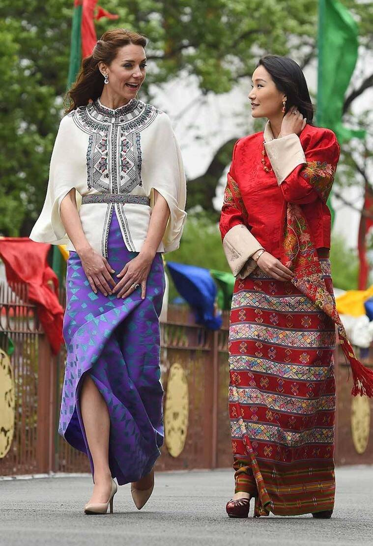 Kate Middleton in the traditional kira skirt on the royal visit to Bhutan. (Source: AP)