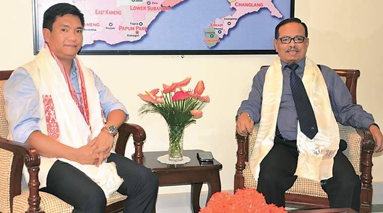 Arunachal Pradesh CM Pema Khandu with Governor J P Rajkhowa in Itanagar on Saturday