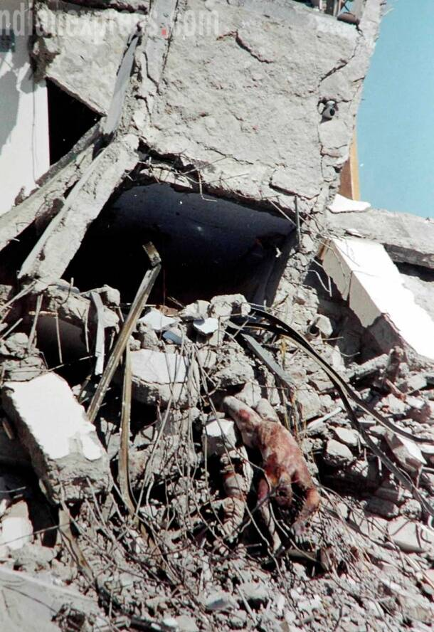 A scene from the Bhuj earthquake in 2000. (Source: Express photo by Praveen Khanna)