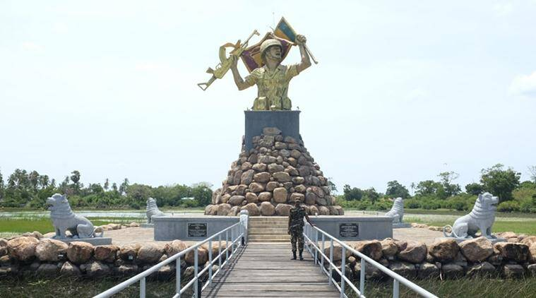 A war memorial built by the Sri Lankan government in Puthukkudiyiruppu, in the vicinity of Mullaitivu (Source: Express photo)