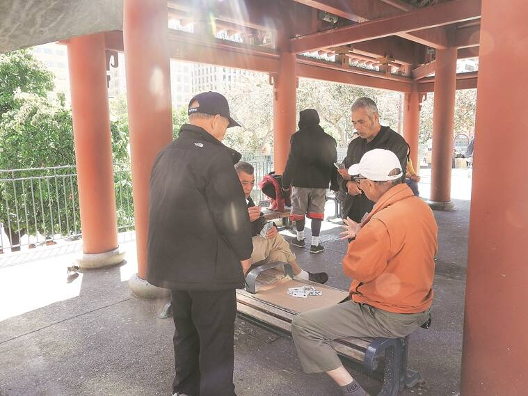 "locals at Portsmouth Square, the ""living room of Chinatown"""