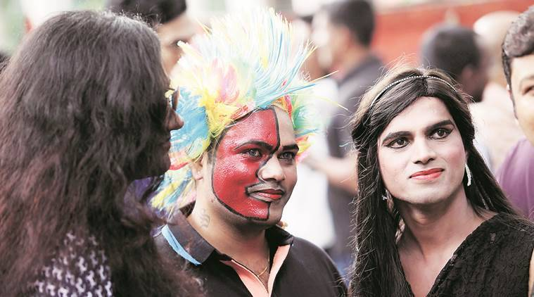 More than a 100 people participated in the annual Pride parade organised by Samapathic trust and LGBT community of Pune on Sunday at JM Road. Express Photo By Sandeep Daundkar,07.08.15,Pune.