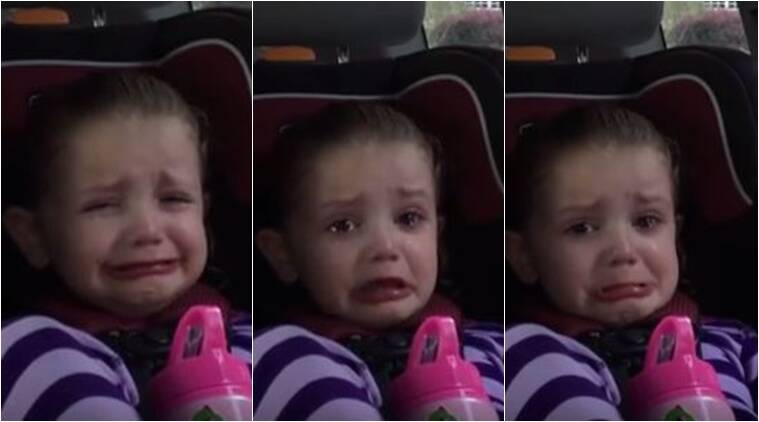 This little one just can't stop crying because she'll miss Barack Obama/ Screenshot