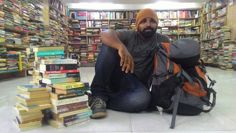 Anees with the books Sahla demanded for. (Source: Sahla Nechiyil)