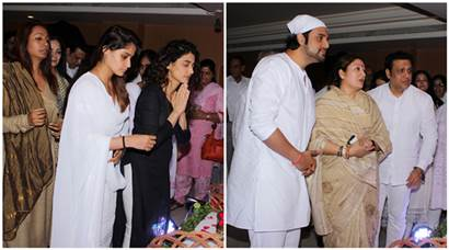 Govinda, Manish Paul pay their respect at prayer meet for Krushna Abhishek's father