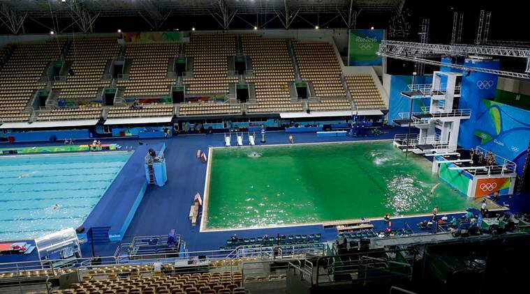 Bright Green Rio Olympic Pool Overshadows Events The Indian Express