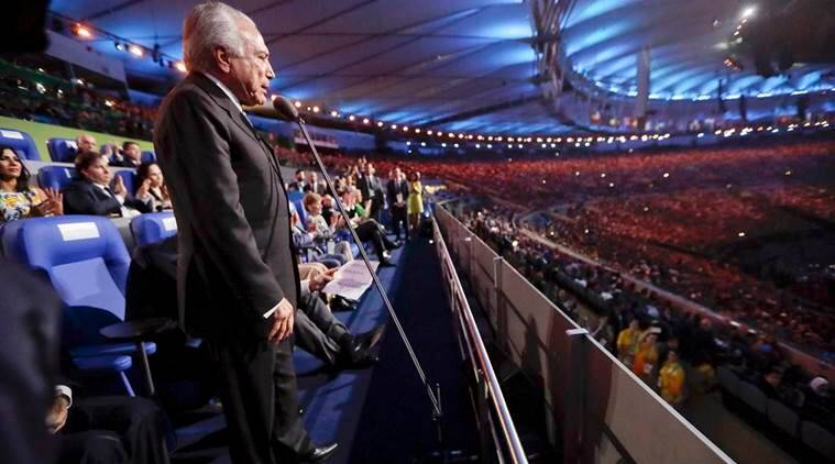 Brazil interim President Michel Temer declares the opening of the 2016 Summer Olympics during the opening ceremony in Rio de Janeiro, Brazil, Friday, Aug. 5, 2016. REUTERS/Mark Humphrey/Pool