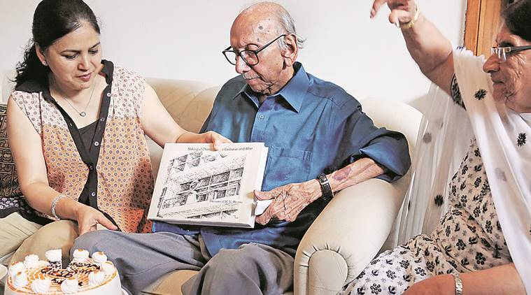 M N Sharma, first Indian Chief Architect of Chandigarh with his newly launched book at his house in Sector 8 of Chandigarh on Thursday, August 04 2016. Express Photo by Kamleshwar Singh