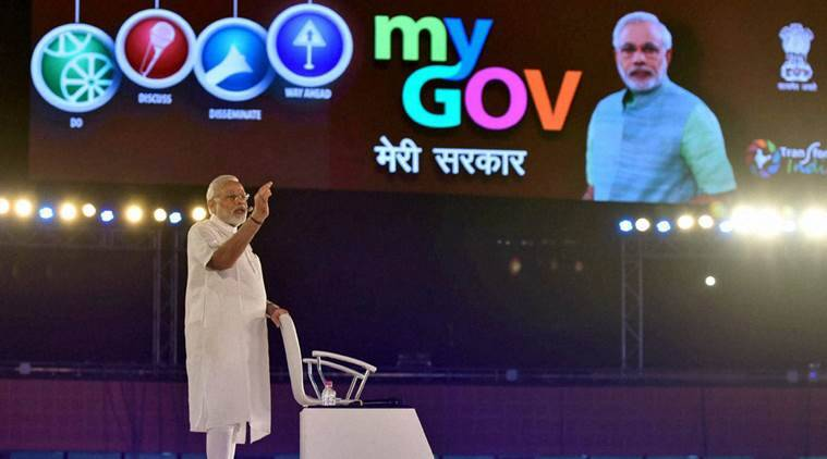 Prime Minister Narendra Modi speaks at the 2nd Year Anniversary celebrations of MyGov, in New Delhi on Saturday. PTI Photo