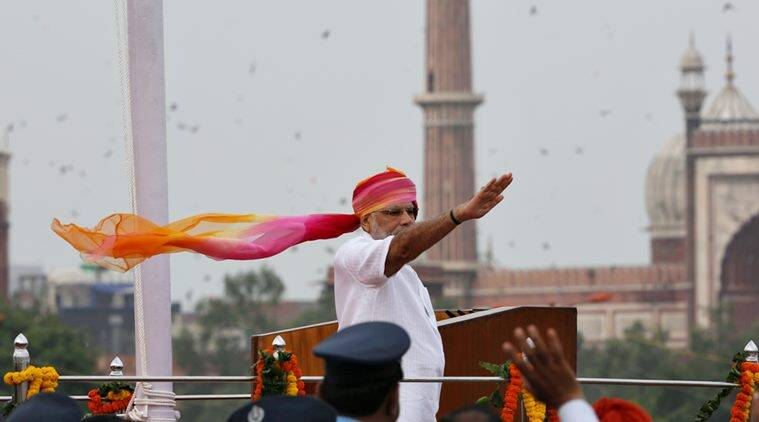 Prime Minister Narendra Modi at the Red Fort on the 70th Independence Day in New Delhi. (Express Photo by Renuka Puri)