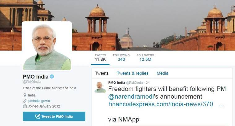 Prime Minister Narendra Modi's official Twitter handle @PMOIndia has over 12.5 million followers as of today.