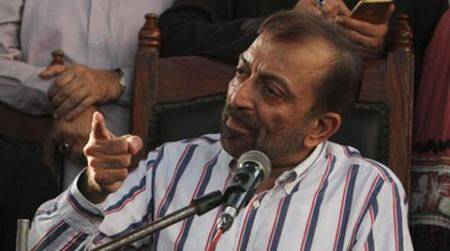 Farooq Sattar, leader of the Muttahida Qaumi Movement, or MQM, addresses a news conference in Karachi, Pakistan, Tuesday, Aug. 23, 2016. MQM supporters attacked three TV stations and clashed with police in Karachi after their self-exiled leader, Altaf Hussain, delivered a speech by phone from London against the Pakistani government on Monday night. (AP Photo/Fareed Khan)
