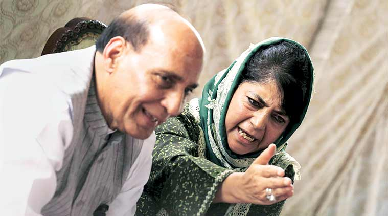 Mehbooba meets Rajnath, talks spurt in Valley violence