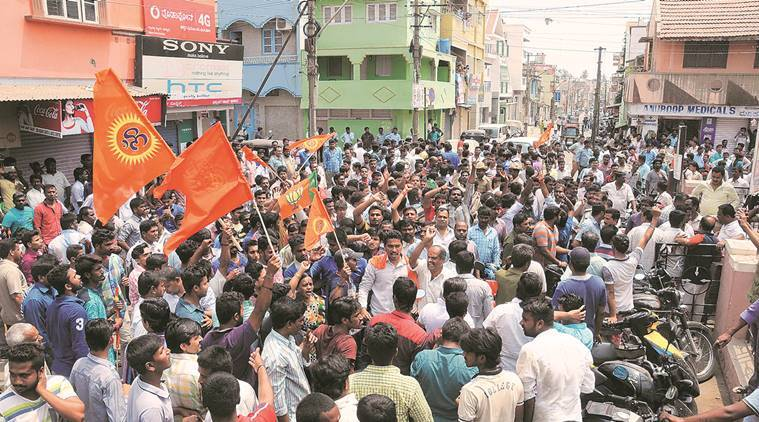 bajrang dal, Abid Pasha, Abid Pasha arrest, Abid Pasha murders, murders by Abid Pasha, mysuru Abid Pasha, mysuru arrest, carpenter arrested, Abid Pasha carpenter, bajrang dal actvist, k raju, twin murder, pasha probe, pasha inquiry, pasha revelations, mysuru's udayagiri area, protest in mysuru, mysuru protest, bajrang dal activist murder, india news, indian express news, mysuru news