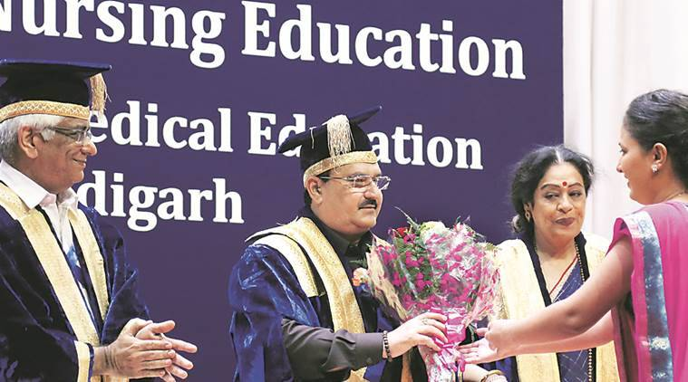 JP Nadda, Union Minister of Health and Family Welfare during First Convocation of The National Institute of Nursing Education PGIMER Chandigarh on Saturday, August 06 2016. Express Photo by Kamleshwar Singh