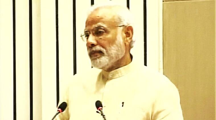 PM Narendra Modi speaking at NITI Aayog annual lecture in Vigyan Bhavan in New Delhi. (Source: ANI/Twitter)