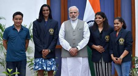 Modi poses with Olympic Medal Winners, Khel Ratna Awardees