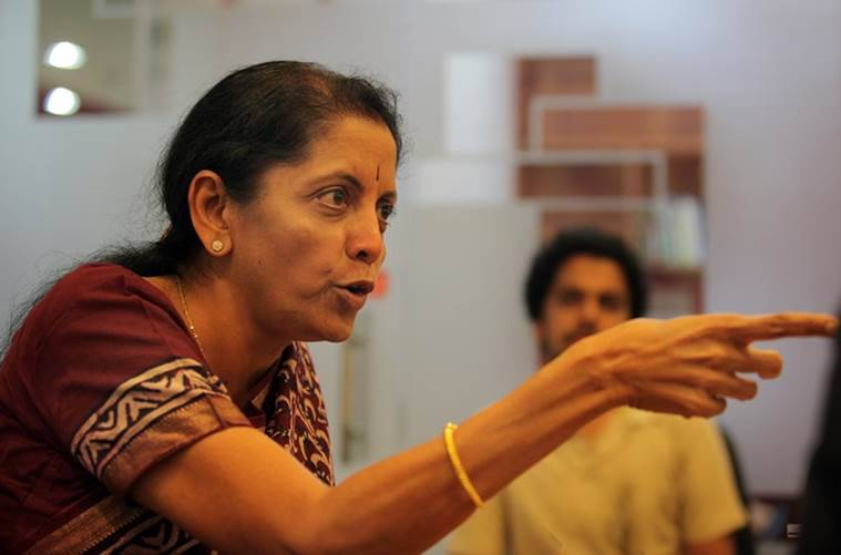 Union Minister of State, Commerce (Independent Charge) Minister of State, Finance Nirmala Sitharaman at the Indian Express Idea exchange in New Delhi on August 21st 2014. Express photo by Ravi Kanojia.