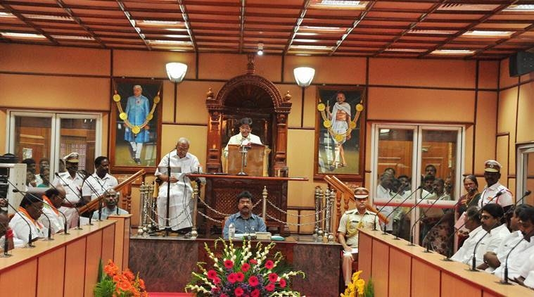 AIADMK, Puducherry Assembly , Puducherry Assembly on budget, Assembly pudicherry, V Vaithilingam, Anbalagan, V. Narayanasamy, latest india news, pondycherry, pondycherry government