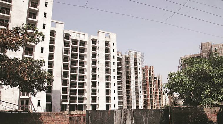 Parsvnath housing project site in sector-20, Panchkula. Express photo by Jaipal Singh
