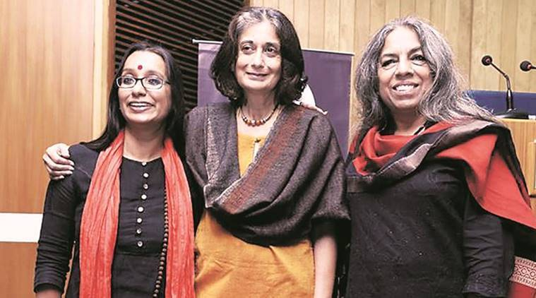 Ritu Menon (centre) with Urvashi Butalia (right) (Source: Express photo by Monica Dawar)