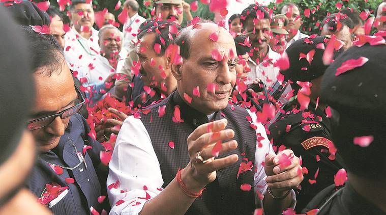 Massive felicitation of Union Home Minister of India Rajnath Singh by Party workers on his statement against Pakistan at Amausi airport in Lucknow on friday,Today Singh is in city for his 3 days visit at his constituency.Express photo by Vishal Srivastav 05.08.2016