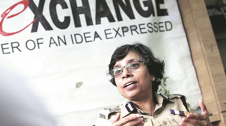 Pune Police Commissioner Rashmi Shukla at the Idea Exchange in  the Indian Express Office.