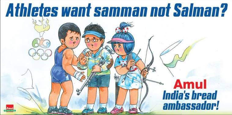 Amul's ad after Bollywood actor Salman Khan was named as the goodwill ambassador instead of other sports stars. (Source: Amul/ Twitter)