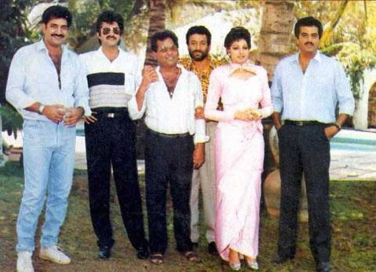 Sridevi with the cast of her film 'Roop ki Rani Choron ka Raja'. The movie in which she was seen opposite her brother-in-law Anil Kapoor was released in the year 1993.