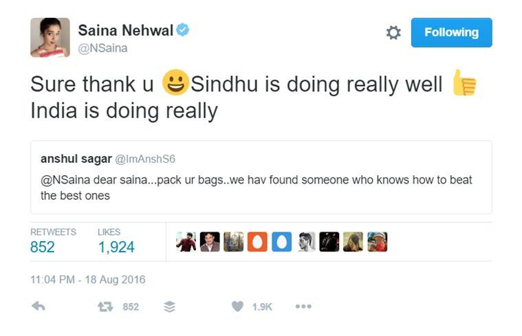 Saina's Reply to Fan on Being Asked to Pack Her Bags