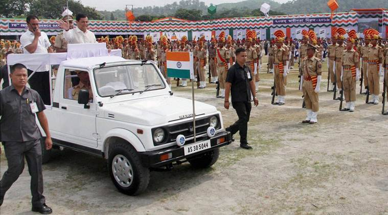 Assam Chief Minister Sarbananda Sonowal inspects the parade during the 70th Independence Day Celebration at Khanapara Veterinary College Playground in Guwahati on Monday. PTI Photo