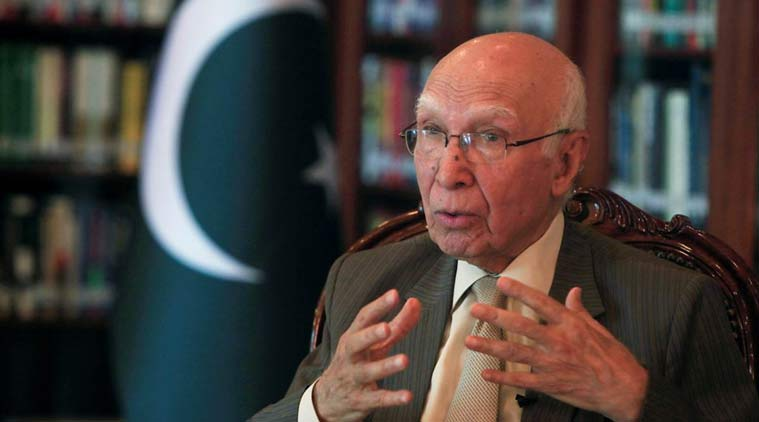 Sartaj Aziz, Pakistan official, Prime Minister's Advisor on Foreign Affairs, India visit, india-pak, indo-pak, india-pakistan, indo-pak ties, bilateral ties, ceasefire violation, cross boder tensions, india news, indian express